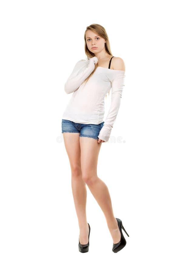 Giovane donna con lo sguardo sconcertante fotografie stock