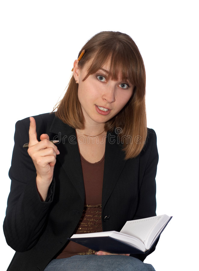 Giovane donna con un taccuino immagini stock