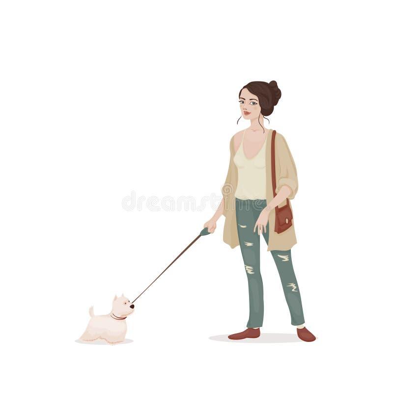 Giovane donna dai capelli castani in un cardigan beige e jeans con un piccolo cane al guinzaglio bianco Doggie Walgirl Vettore royalty illustrazione gratis