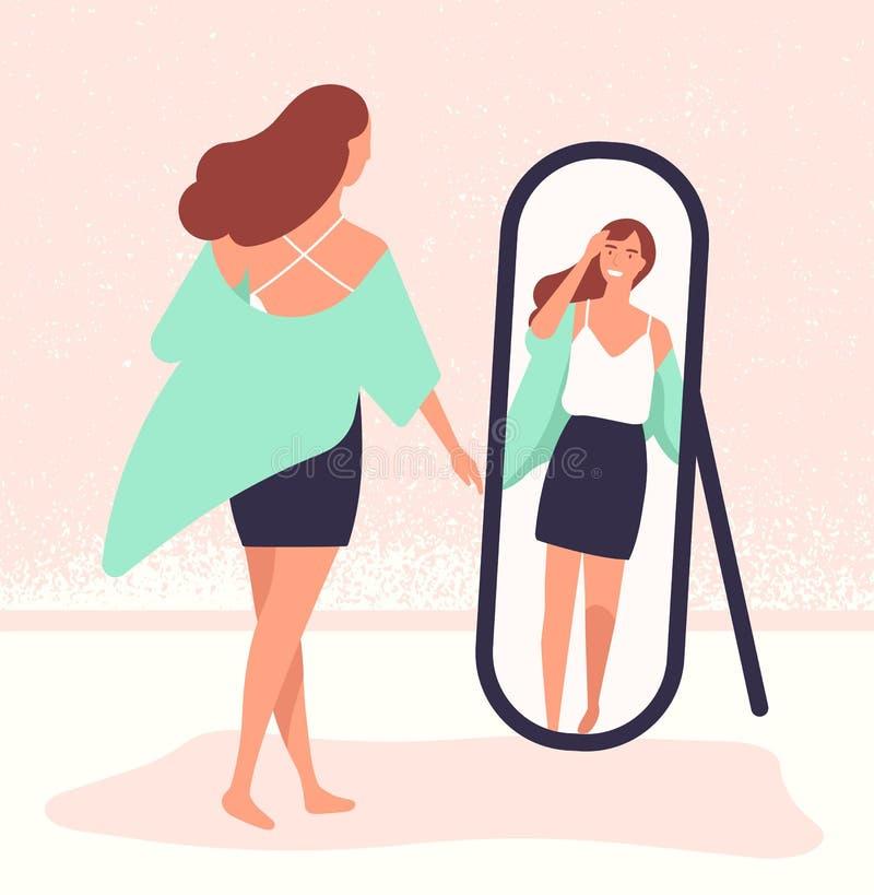 Giovane donna dai capelli lunghi che sta davanti allo specchio e che esamina riflessione Bello agghindarsi della ragazza femmina illustrazione di stock