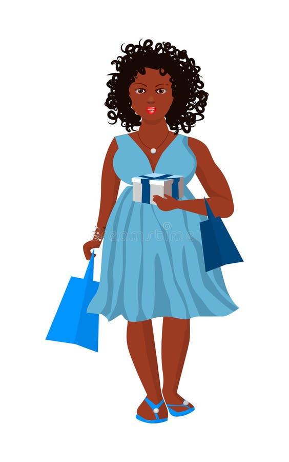 Giovane donna dalla carnagione scura piena con un regalo e borse in fretta per la festa illustrazione di stock