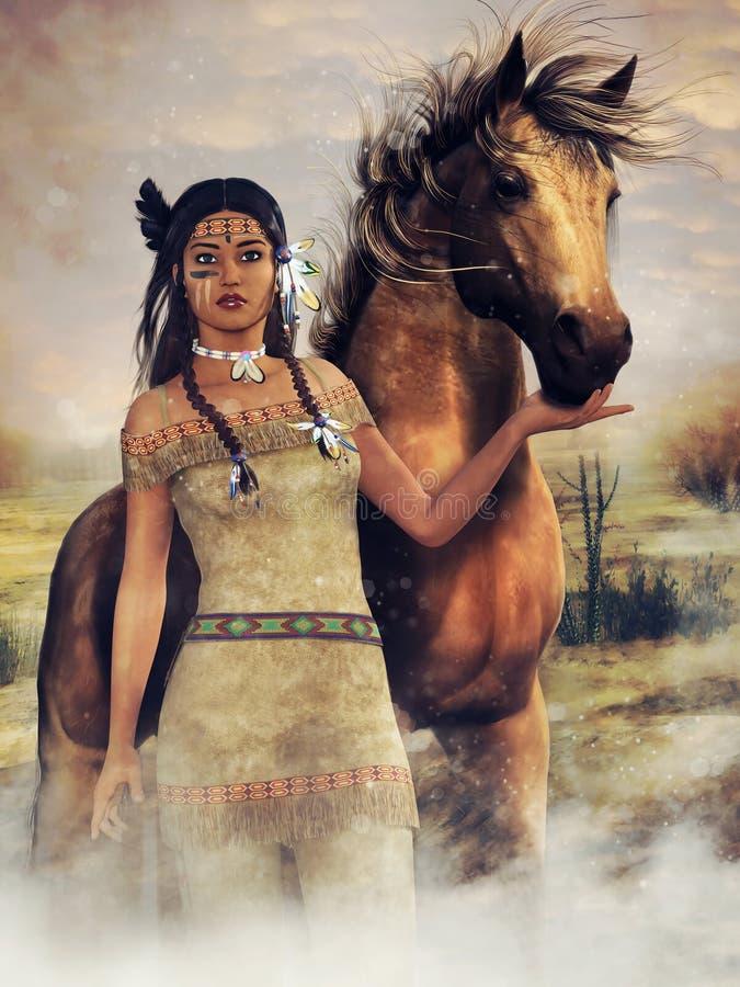 Giovane donna del nativo americano con un cavallo illustrazione vettoriale