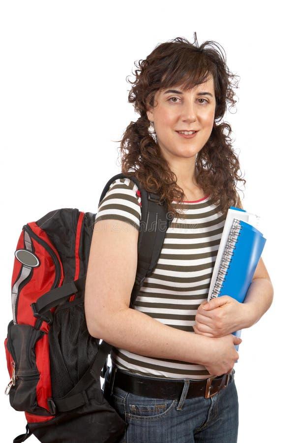 Giovane donna dell'allievo con backp immagine stock