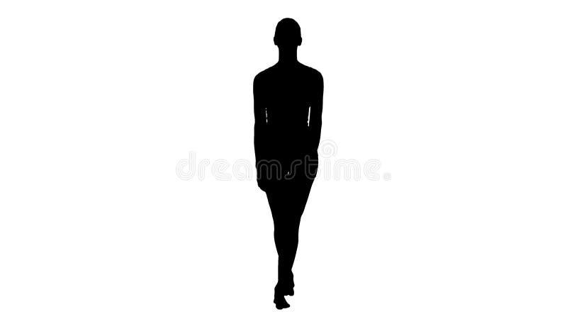 Giovane donna della siluetta che cammina a piedi nudi in vestiti bianchi di sport e che sorride ampiamente illustrazione vettoriale