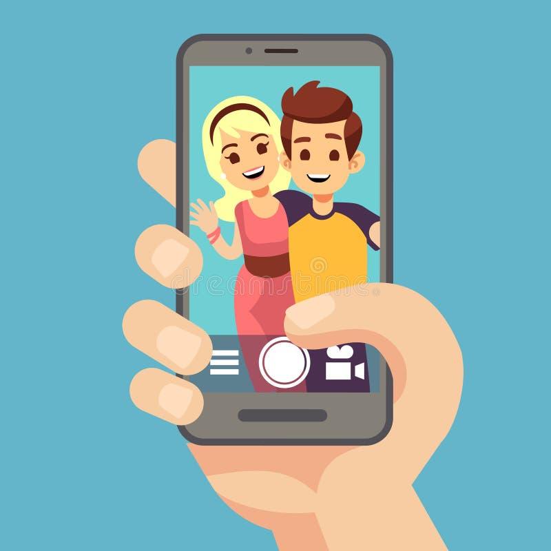 Giovane donna delle coppie, uomo che prende la foto del selfie sullo smartphone Ritratto sveglio dei migliori amici sullo schermo illustrazione di stock