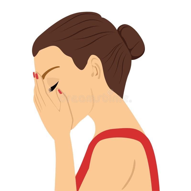 Giovane donna depressa che grida nascondendo il suo fronte in sue mani illustrazione vettoriale