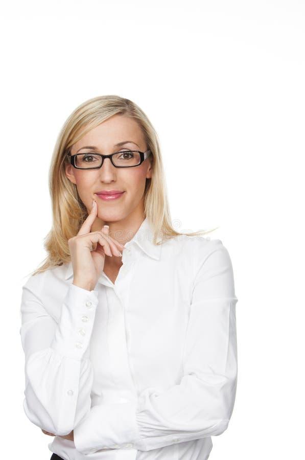 Giovane donna di affari amichevole Smiling alla macchina fotografica immagini stock