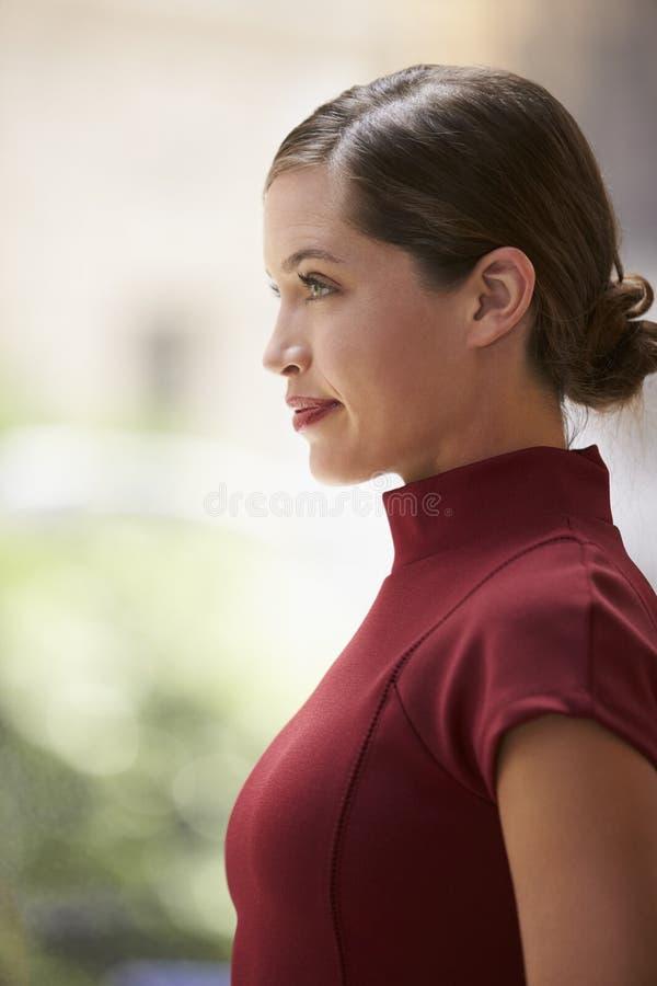 Giovane donna di affari bianca in vestito marrone rossiccio, vista laterale, verticale immagine stock libera da diritti