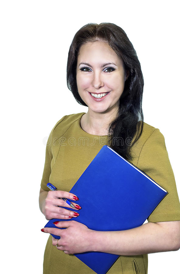 Giovane donna di affari che sorride con una cartella delle carte in mani fotografia stock