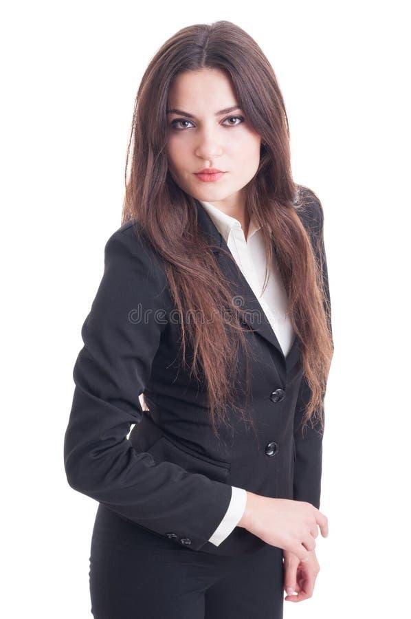 Giovane donna di affari con l'atteggiamento fotografie stock