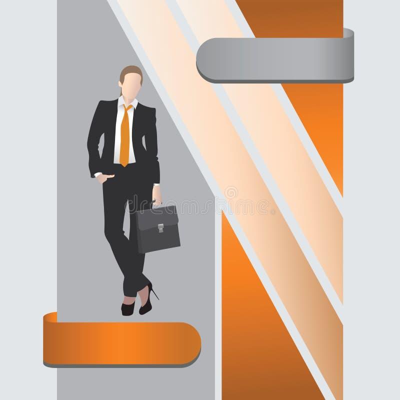Giovane donna di affari con la cartella royalty illustrazione gratis