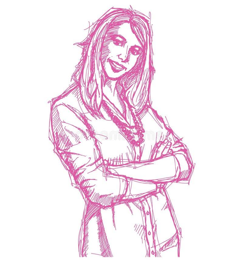 Giovane donna di affari di abbozzo con le mani attraversate illustrazione vettoriale