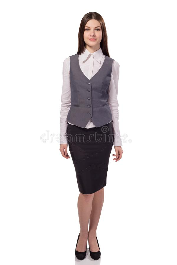 Giovane donna di affari graziosa isolata Ritratto completo di altezza immagini stock