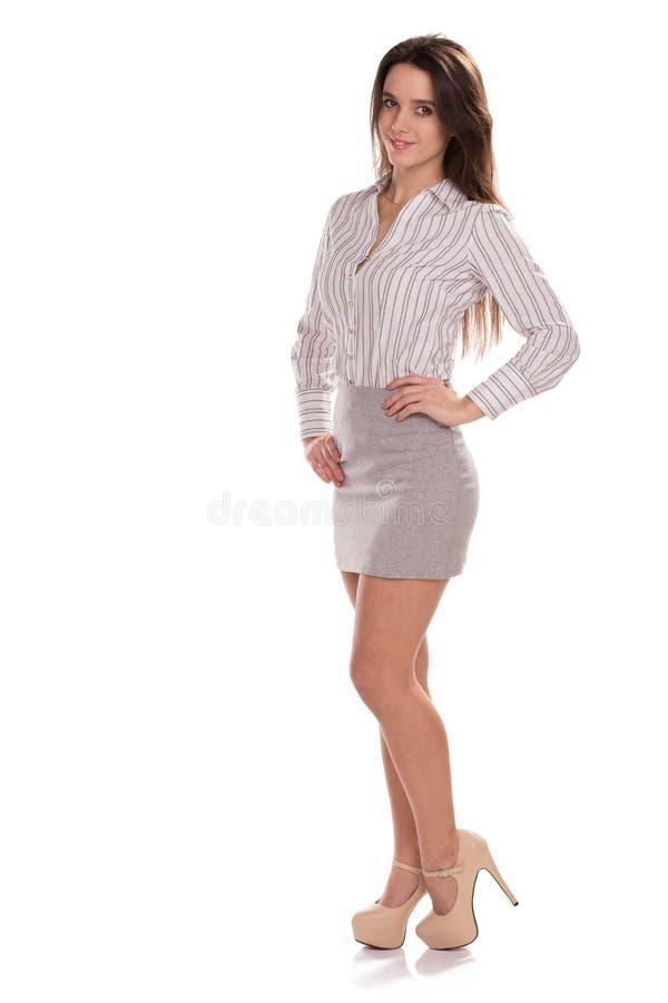 Giovane donna di affari graziosa isolata Ritratto completo di altezza fotografie stock libere da diritti