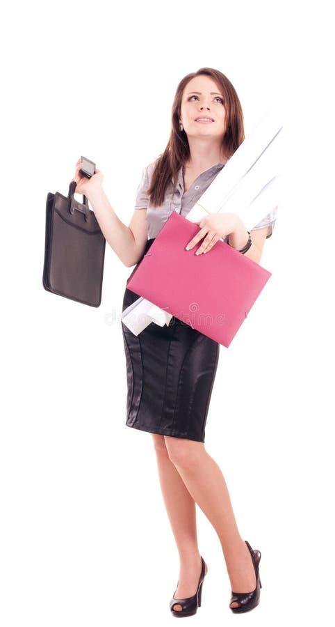 Giovane donna di affari isolata fotografie stock