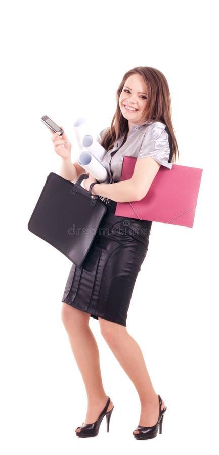 Giovane donna di affari isolata fotografia stock libera da diritti