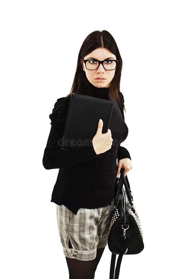 Giovane donna di affari sconcertante fotografia stock libera da diritti
