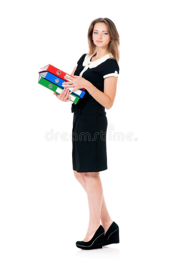 Giovane donna di affari su bianco fotografia stock