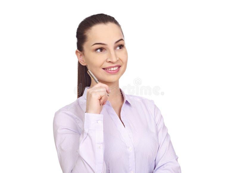 Giovane donna di affari su bianco immagini stock libere da diritti