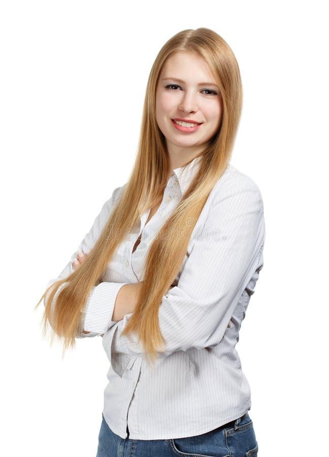 Giovane donna di affari su fondo bianco immagine stock libera da diritti
