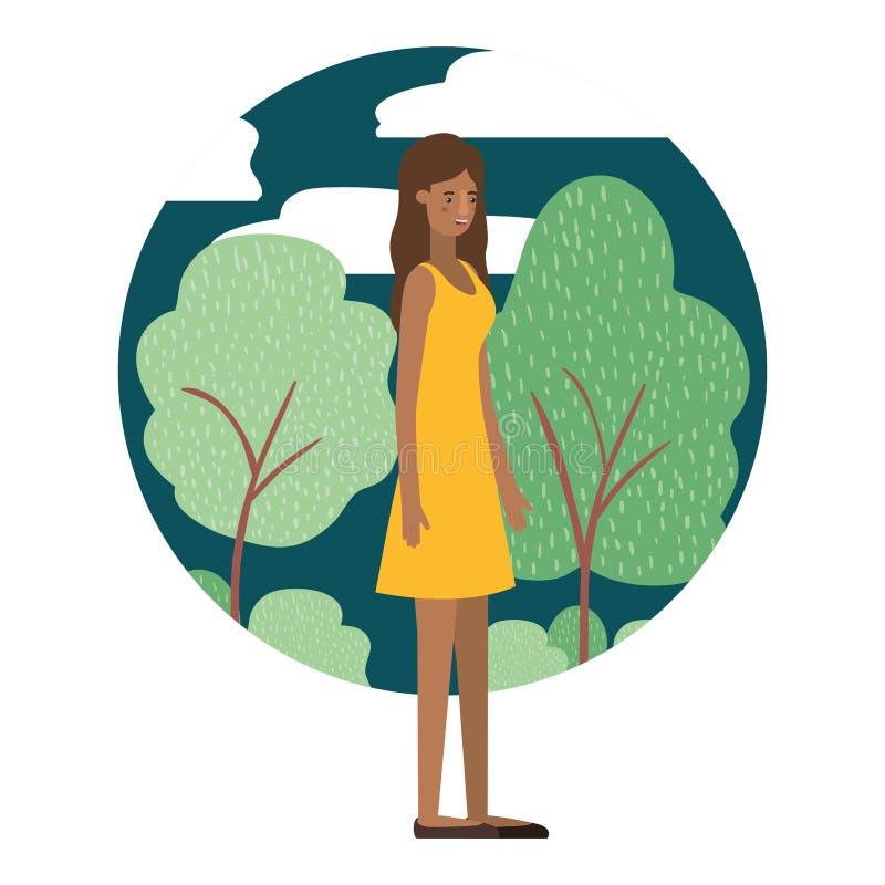 Giovane donna di afro con il carattere dell'avatar del paesaggio illustrazione di stock