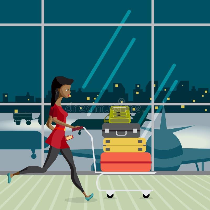 Giovane donna di afro con un carrello con bagagli nel termine dell'aeroporto royalty illustrazione gratis