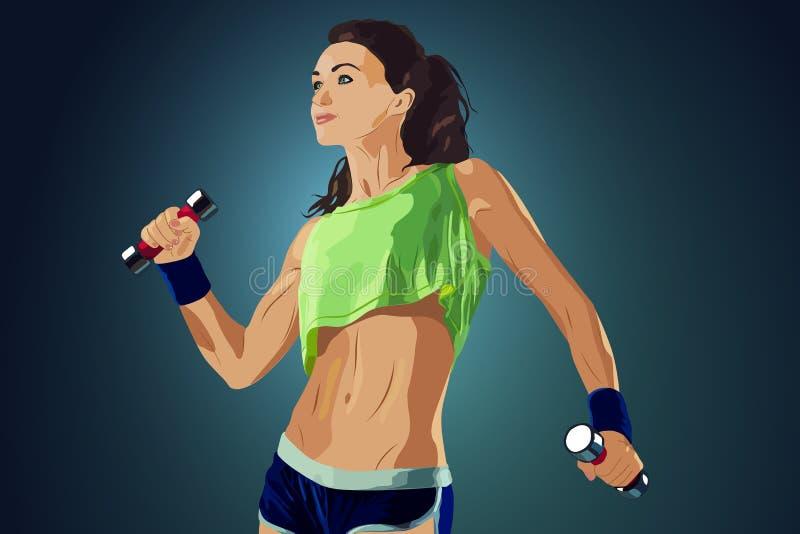 Giovane donna di forma fisica illustrazione vettoriale