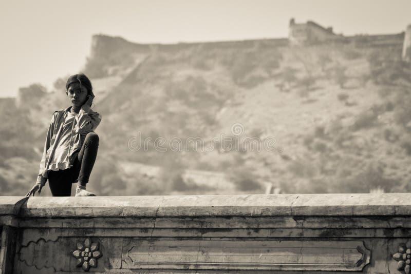 Giovane donna di Jaipur, India immagini stock libere da diritti
