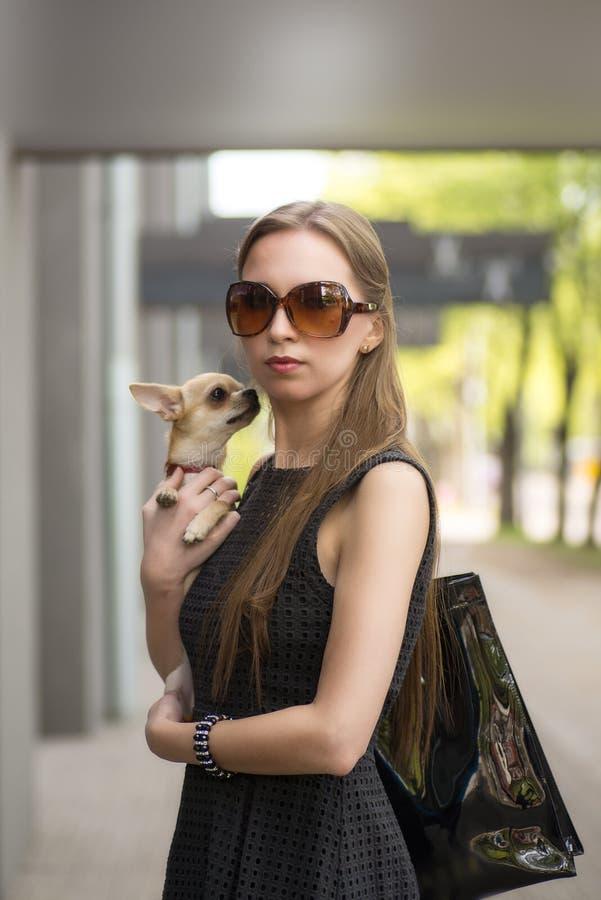 Giovane donna di modo, camminante il suo cane nella via immagine stock