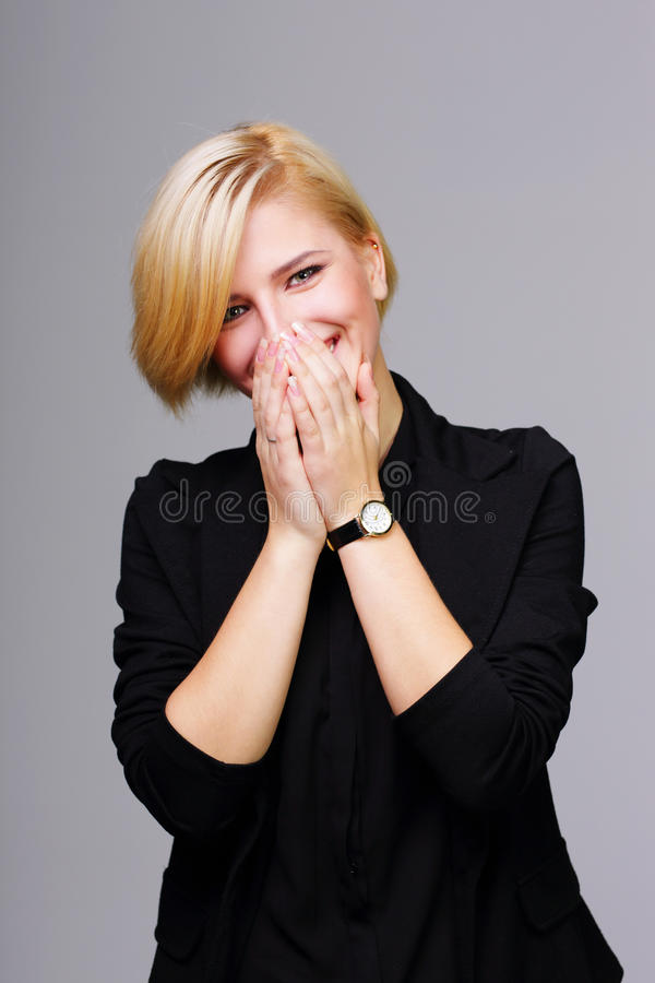 Giovane donna di risata fotografia stock