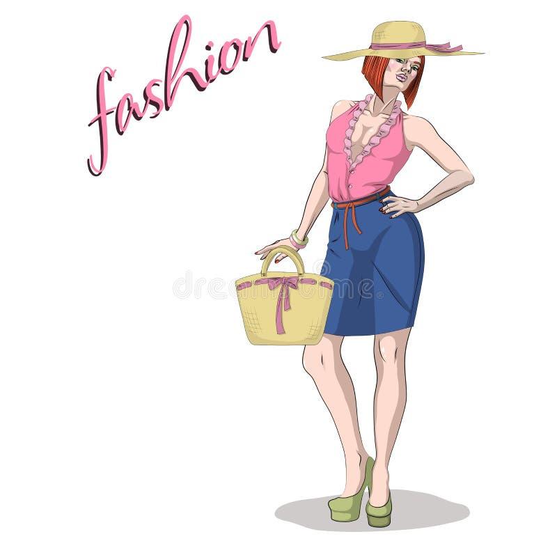 Giovane donna e borsa del modello di bellezza isolate su bianco illustrazione vettoriale