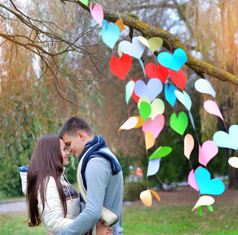 Giovane donna ed uomo nella decorazione del cuore, sulla festività fotografia stock