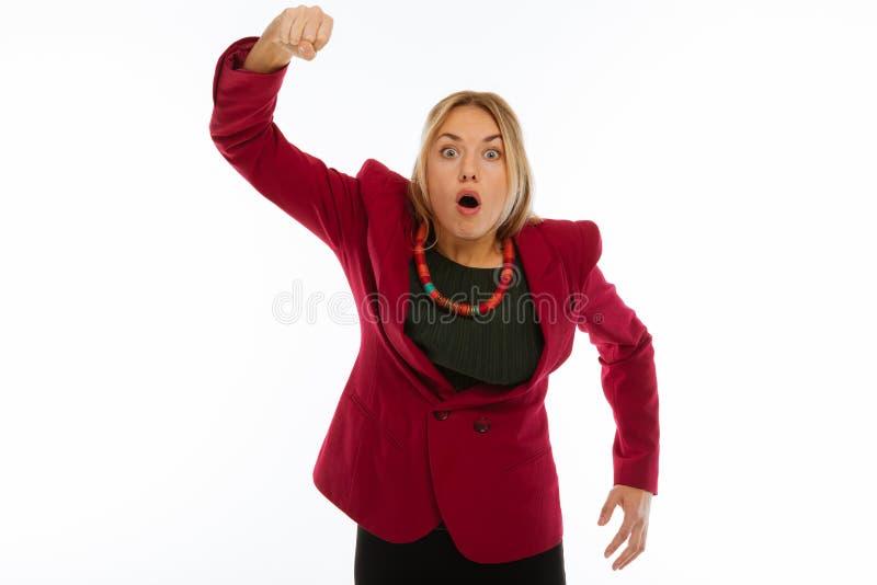 Giovane donna emozionale che tiene la sua mano su fotografia stock libera da diritti