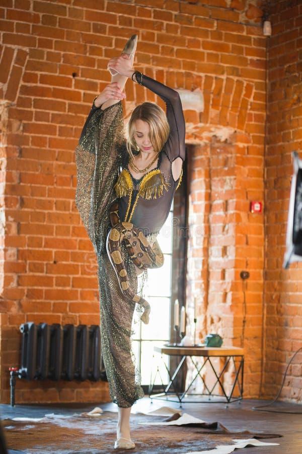 Giovane donna esile che esegue ballo con un serpente davanti alla finestra immagini stock