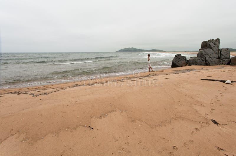 Giovane donna esile che sta su una spiaggia abbandonata immagini stock