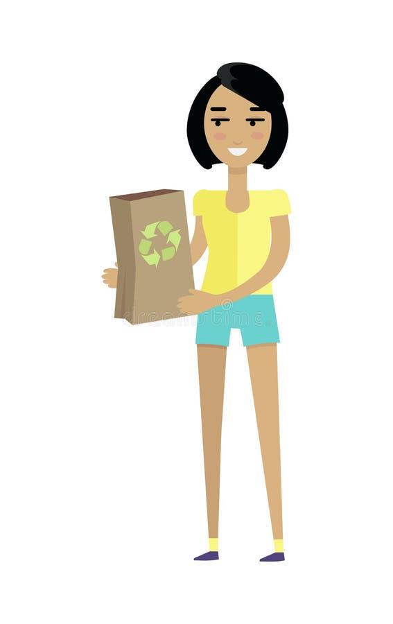 Giovane donna europea in maglietta gialla e negli shorts illustrazione vettoriale