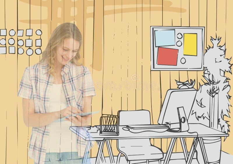 giovane donna felice che attinge compressa che l'ufficio allinea Possiamo vederlo sulle linee dell'ufficio illustrazione di stock