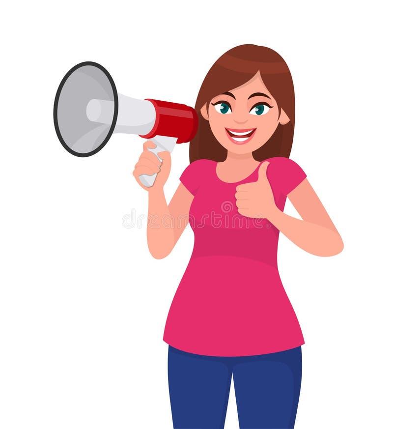 Giovane donna felice che tiene un megafono/altoparlante rumoroso e che gesturing i pollici sul segno Ragazza che fa annuncio con  illustrazione vettoriale