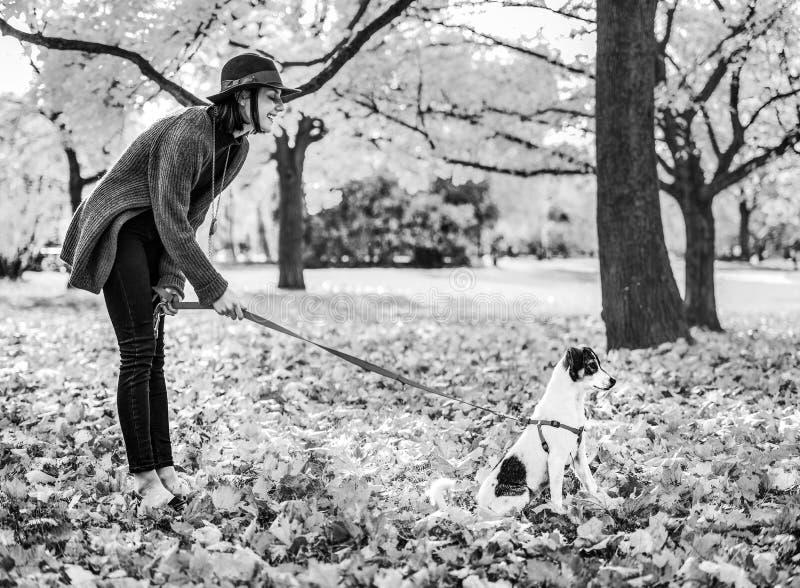 Giovane donna felice con il cane all'aperto in autunno immagini stock