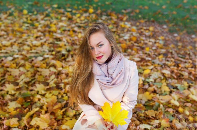 Giovane donna felice in parco il giorno di autunno fotografia stock libera da diritti