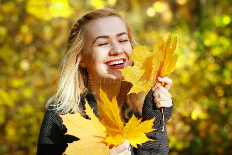 Giovane donna felice in parco il giorno soleggiato di autunno Bella ragazza allegra in maglione grigio all'aperto il bello giorno fotografia stock