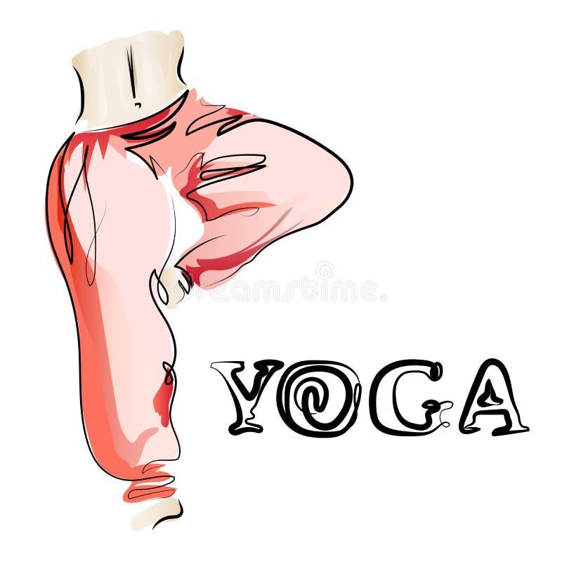 Giovane donna flessibile con un'yoga di pratica della vita sottile Potete usarlo come logo per le sessioni del gruppo, per uno st illustrazione vettoriale