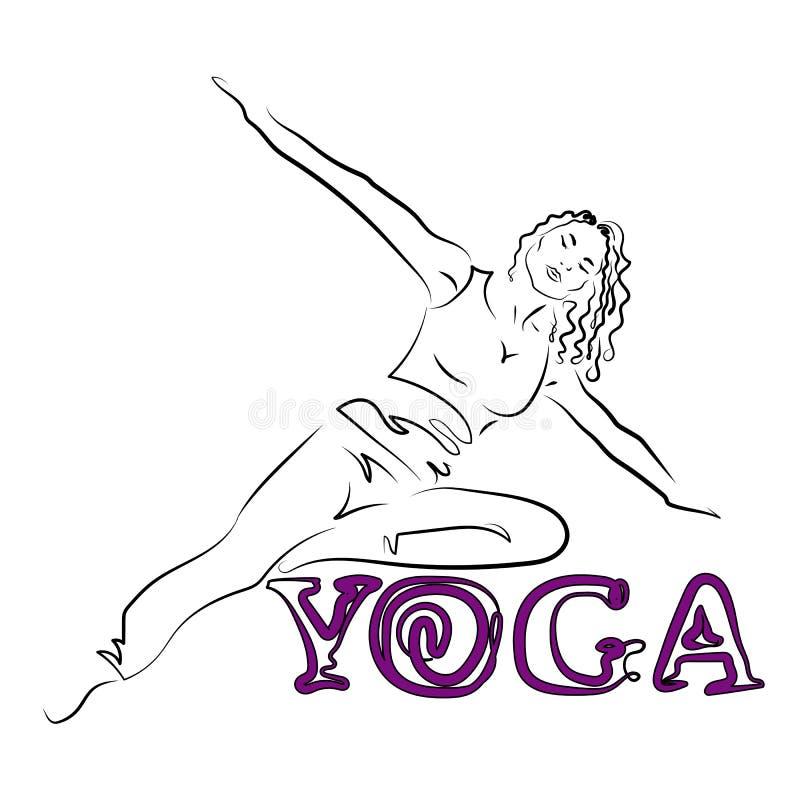 Giovane donna flessibile con un'yoga di pratica della vita sottile Potete usarlo come logo per le sessioni del gruppo, per uno st royalty illustrazione gratis
