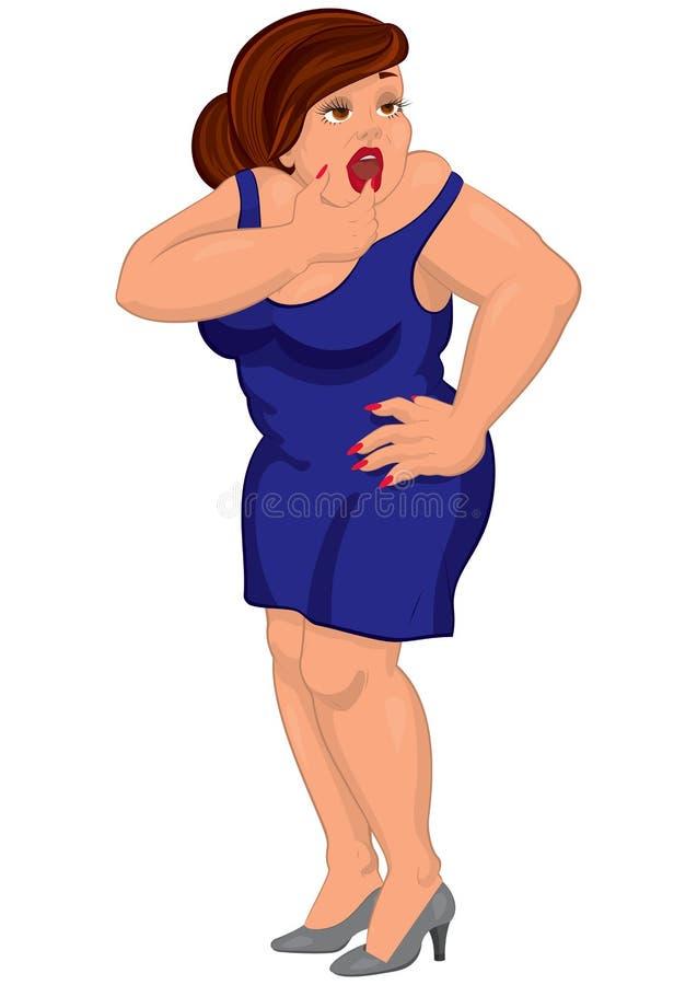 Giovane donna grassa del fumetto in vestito blu che tocca le sue labbra illustrazione di stock