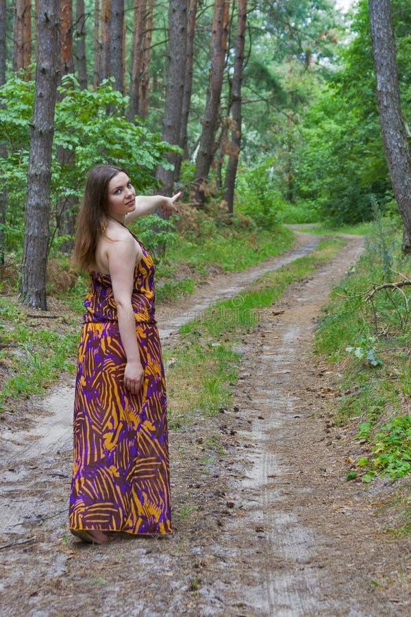 Giovane donna graziosa che sta sul sentiero forestale fotografie stock libere da diritti