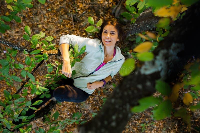 Giovane donna graziosa in un albero che spende tempo in natura immagine stock libera da diritti