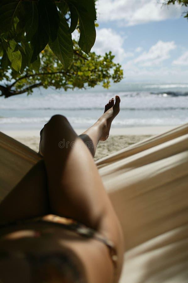 Giovane donna in hammock fotografie stock libere da diritti