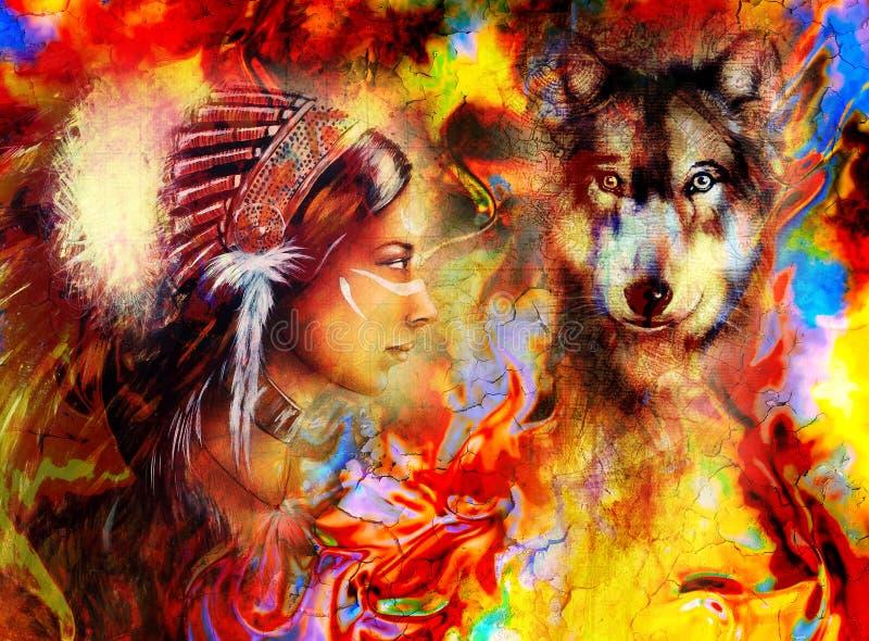 Giovane donna indiana che dura con il lupo e illustrazione di stock