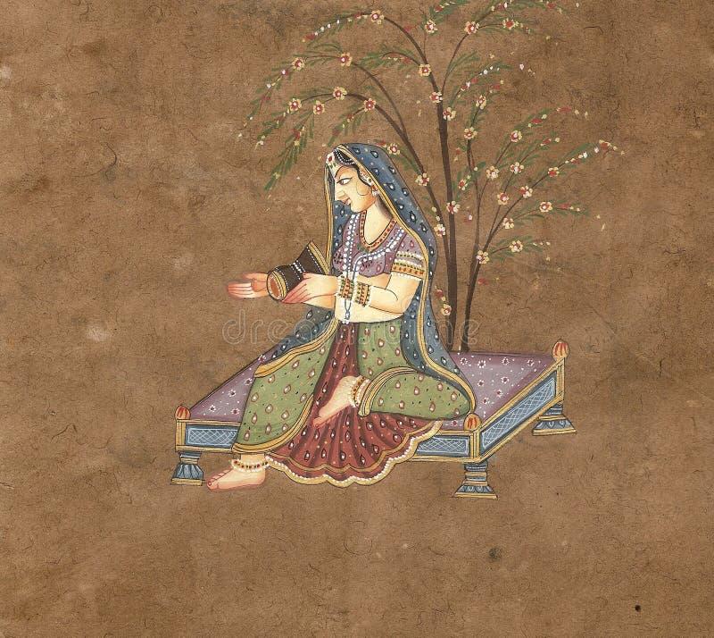 Giovane donna indiana che gioca un tamburo illustrazione vettoriale