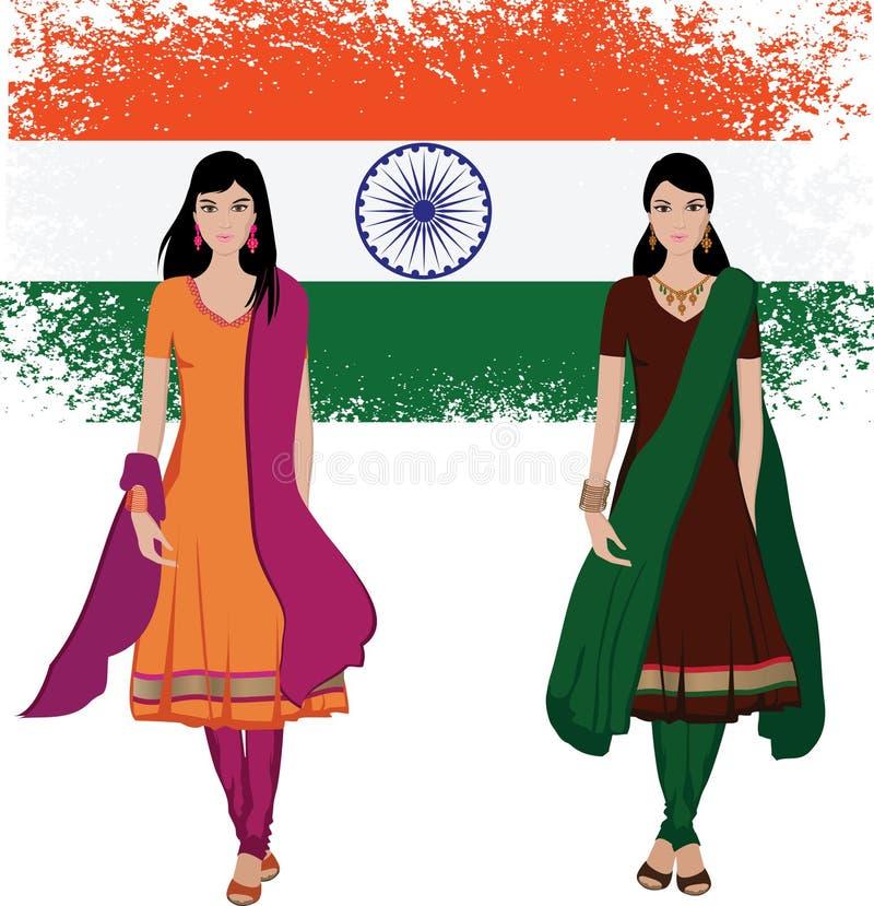 Giovane donna indiana con la priorità bassa della bandierina illustrazione vettoriale